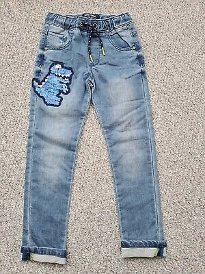 Boys Next Dinosaur Soft Jeans Age 5-6 Years Bnwot