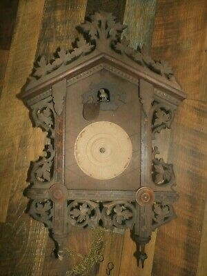 Vintage Antique American Cuckoo Clock Wooden Black Forest Wall Parts Restore