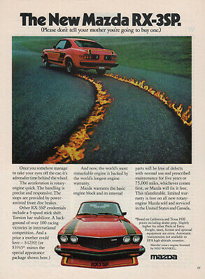 Original Print Ad - 1977 Mazda Rx-3Sp / Don't Tell Your Mother  Andrenaline Time