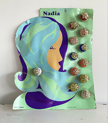 Vintage Hair bobbles clips Bands Shop Display Card 1960s French girl