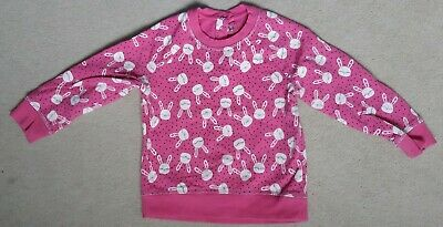 Girls pink mothercare sweatshirt top age 2-3 years bunny print