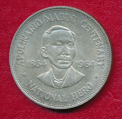 Philippines 1964 Silver One Peso Commemorative Coin **Nice Circulated**