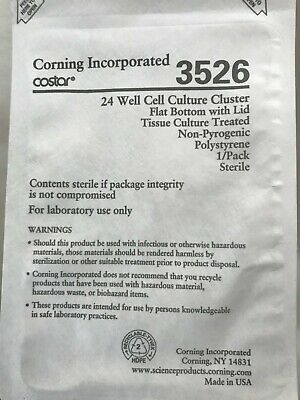 (24) Corning Costar Sterile 24-Well TC Treated  Cell Culture Plate w/ Lid, 3526