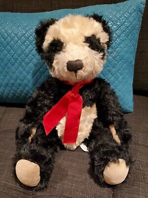 """Mei Ying Vintage Bombay 12"""" Plush Panda Bear.  Limited Edition, 2000. Pre-Owned."""