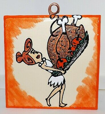 FLINTSTONES Wilma with a Turkey for Fred Hand Painted & Glittered Tile Ornament