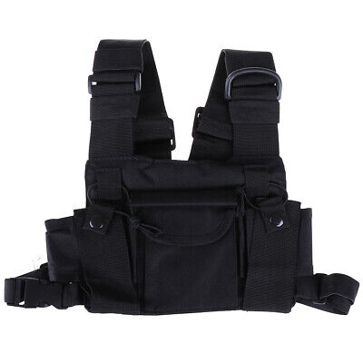 3 Pocket chest pack bag harness for walkie talkie radio_LO