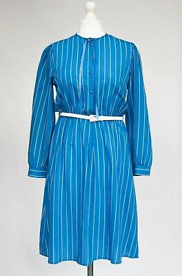 Vintage St Michael 50s 80s Blue White Striped Nautical Double breasted Pleated Dress