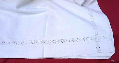 French Embroidered Bed Sheet Ladder Work White Metis 88 1/2 x 78 3/4
