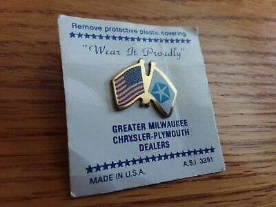 Vintage Chrysler Plymouth American Flag, Tie Hat or Lapel Pin Patriotic USA!
