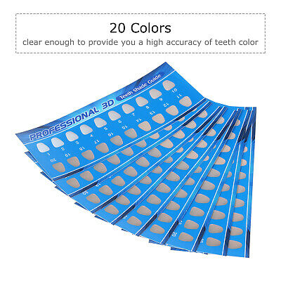 20 Colours Teeth Whitening Paper Shade Guide Chart Dental Supplies V1P2