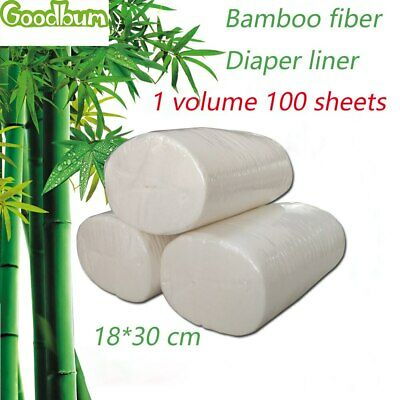 100Sheets Flushable Biodegradable Baby Bamboo Nappy Liner,Disposable 100% Bamboo