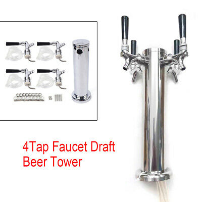 NEW Stainless Steel Four*Tap Faucet Draft Beer Tower Homebrew Bar For Kegerator