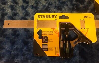 Brand New Stanley 46-222 Combination Square 12in Die Cast Housing/Rust Resistent