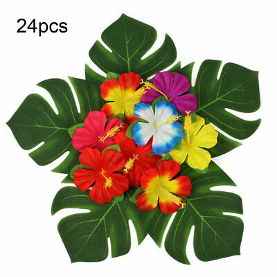 24X Tropical Hawaiian Artificial Palm Leaves Jungle Foliage Luau Party Decor UK