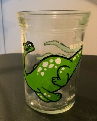 Vintage Welch's Jelly Jars Juice Glasses Green  Dinosaur