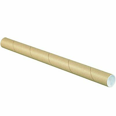 """Partners Brand PP1548K Mailing Tubes with Caps 1 1/2"""" x 48"""" Kraft Pack of 50"""