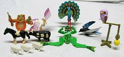Lot of 9 Kinder Surprise ANIMAL BIRD TOYS Cake Topper COW HORSE FROG PEACOCK OWL