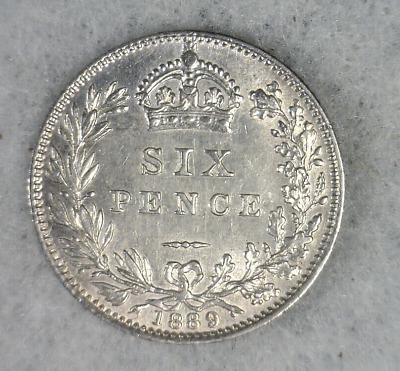 GREAT BRITAIN 6 PENCE 1889 AU SILVER COIN ( stock# 002)