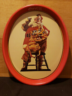 Vintage 1987 Coca-Cola Coke Santa Claus Christmas Oval Serving Tray