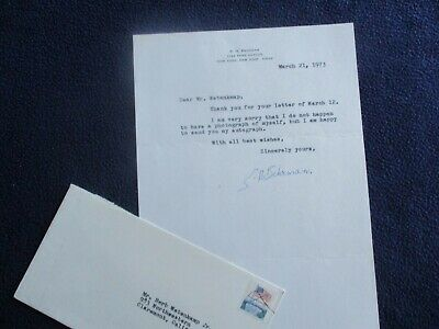 1973 Samuel Behrman (Playwright,screenwriter) Signed Park Avenue,N.Y. Letter