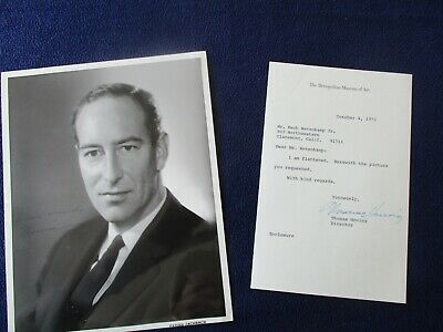 1972 Thomas Hoving (Metropolian Museum of Art Director) Signed Photo,letter!