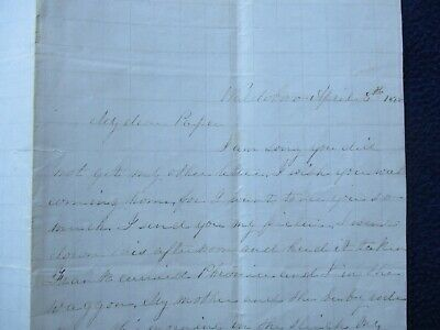 1868 J.H. Lovell signed letter when 8 years old (found 32 Bee Species) in Maine!