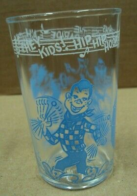 1953 Vtg 8oz Welch's Juice Jelly Glass HOWDY DOODY Hey Kids Hip Hip Hooray CLOWN