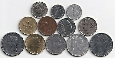 12 DIFFERENT COINS from ITALY (12 TYPES/9 DENOMINATIONS/1922-1996)