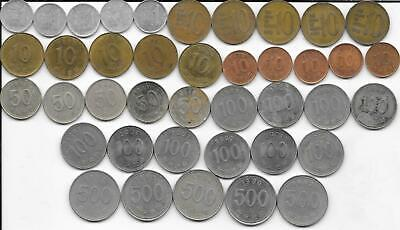 Dealer Flea Market Lot 40 Mixed Date/Type South Korea 1 10 50 100 500 Won Coins