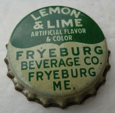 Fryeburg, Maine - Soda Bottle Caps - Lot of 3 - Cork Lined - Lemon & Lime