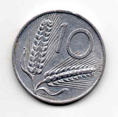 Italy 1956 R, Plough; reverse Two ears of wheat dividing by value, 10 Lire