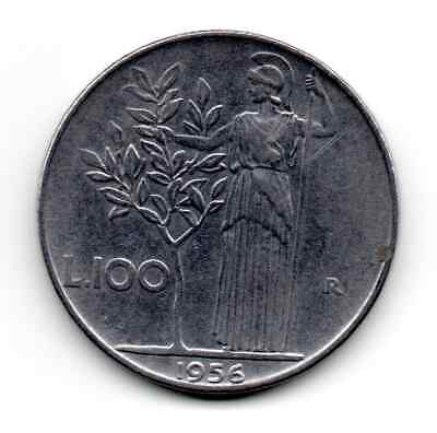 Italy 1956 R, goddes Minerva facing left reaching an olive tree, 100 Lire