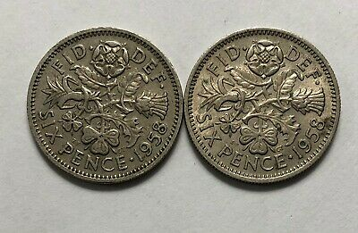 1958 Great Britain Sixpence - 2 coins