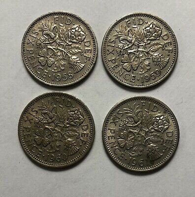 1958, 1959, 1960, 1961 Great Britain Sixpence - lot of 4