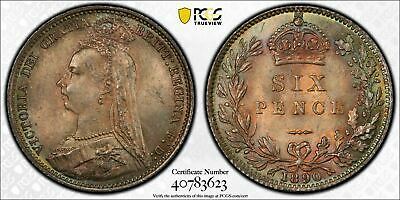 1890 Great Britain 6 Pence Sixpence PCGS MS65 Lot#G534 Silver! Nice Toning!
