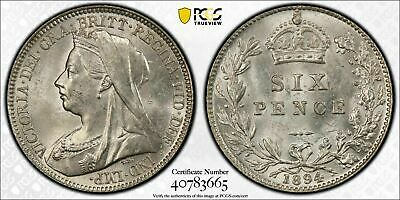 1894 Great Britain 6 Pence Sixpence PCGS MS63 Lot#G488 Choice UNC!