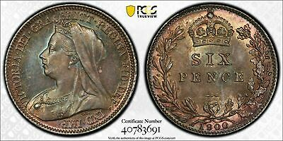 1900 Great Britain 6 Pence Sixpence PCGS MS64 Lot#G526 Silver! Beautiful Toning!