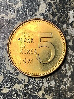 1971 Korea 5 Won Lot#Z8092 High Grade! Beautiful!