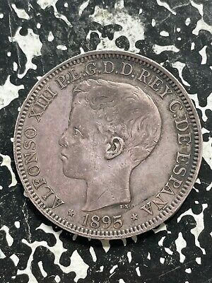 1895 Puerto Rico 1 Peso Lot#JM2728 Silver! Nice Detail, Old Mount
