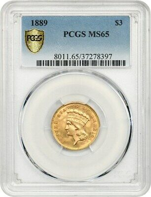 1889 $3 PCGS MS65 - Popular Final Year of Issue - 3 Princess Gold Coin