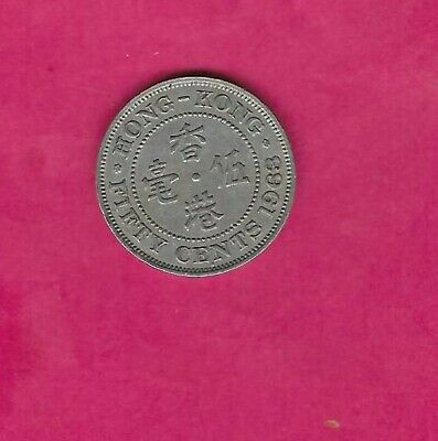 Hong Kong Km30.1 1963 H Vf-Very Fine-Nice Used Old Vintage 50 Cent Coin