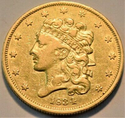 1834 $5 Gold Classic Head Half Eagle, Better Higher Grade Details Type Coin Five