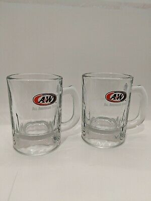 2 A & W Root Beer MIni Child's Glass Mug 3 1/4""