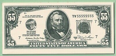 oversized - FAKE - $55.00-fifty-five dollar bill  -  WBNX 55 - Akron-Cleveland