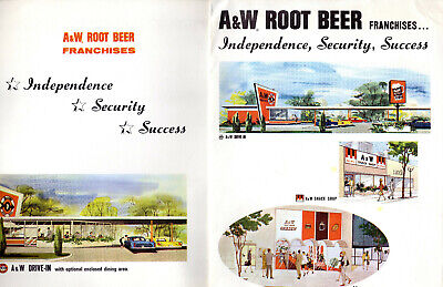 Three 1964  A & W Root Beer Franchises presentation pocket folders USA  9 X 12""