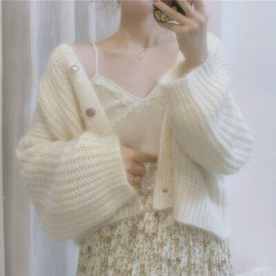 Knitted Cardigan Women Vintage Retro Sweater V-Neck Casual Long Sleeve Sweet