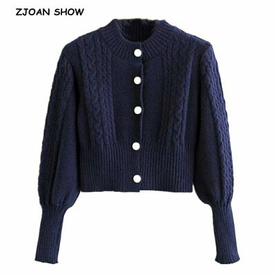 Vintage Single breasted Button Knitted Twist striped Crop Cardigan Retro Woman