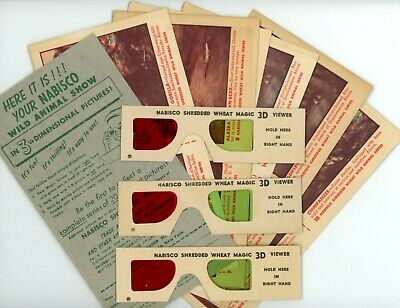 1953 Nabisco Shredded Wheat 3D WILD ANIMAL CARDS Part Set  w/ 3x Viewer Glasses