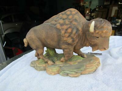 Buffalo Figurine Stand on Rocks Ceramic  10 x 4 and 8 inches Tall