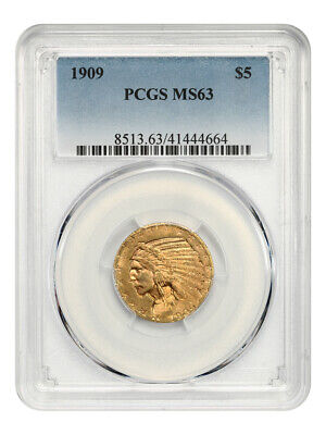 1909 $5 PCGS MS63 - Indian Half Eagle - Gold Coin